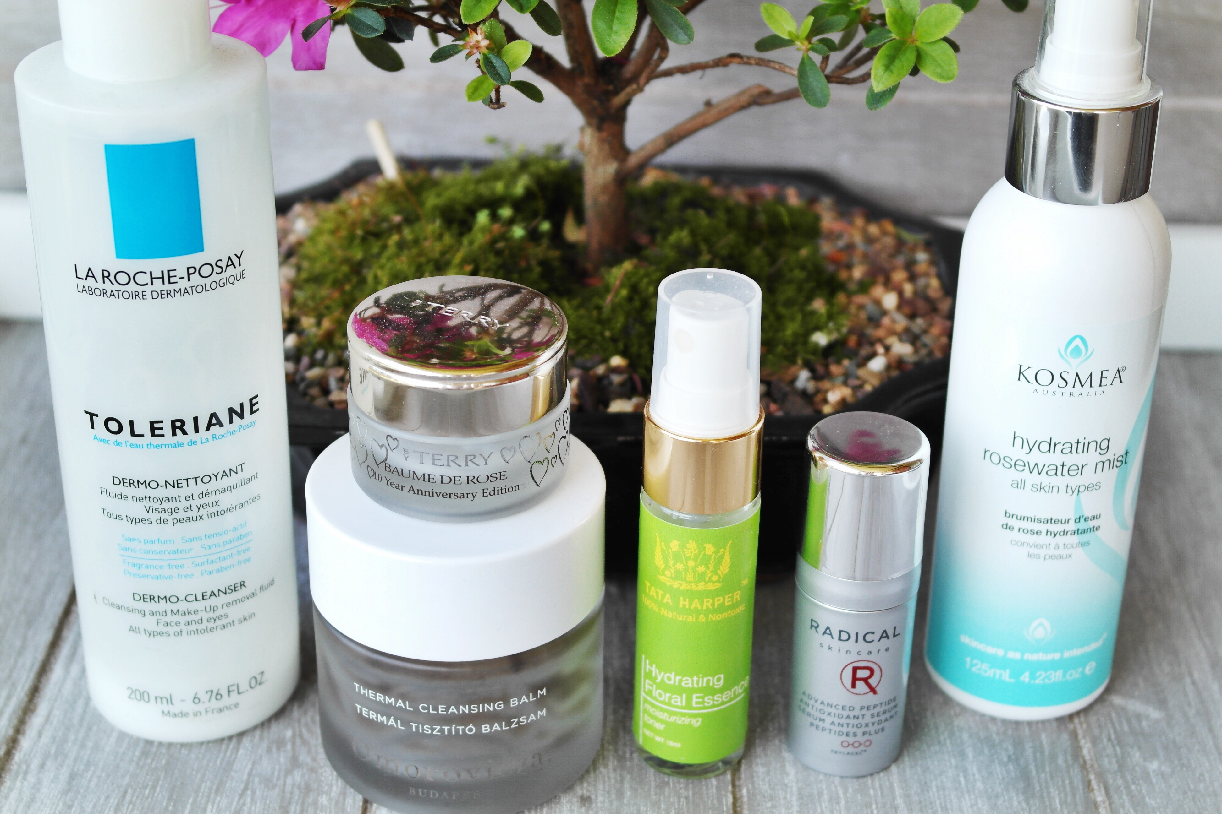 La Roche Posay Toleriane Dermo-Cleanser, By Terry Baume De Rose, Omorovicza Thermal Cleansing Balm, Tata Harper Hydrating Floral Essence, Radical Skincare Advanced Peptide Antioxidant Serum, Kosmea Hydrating Floral Mist