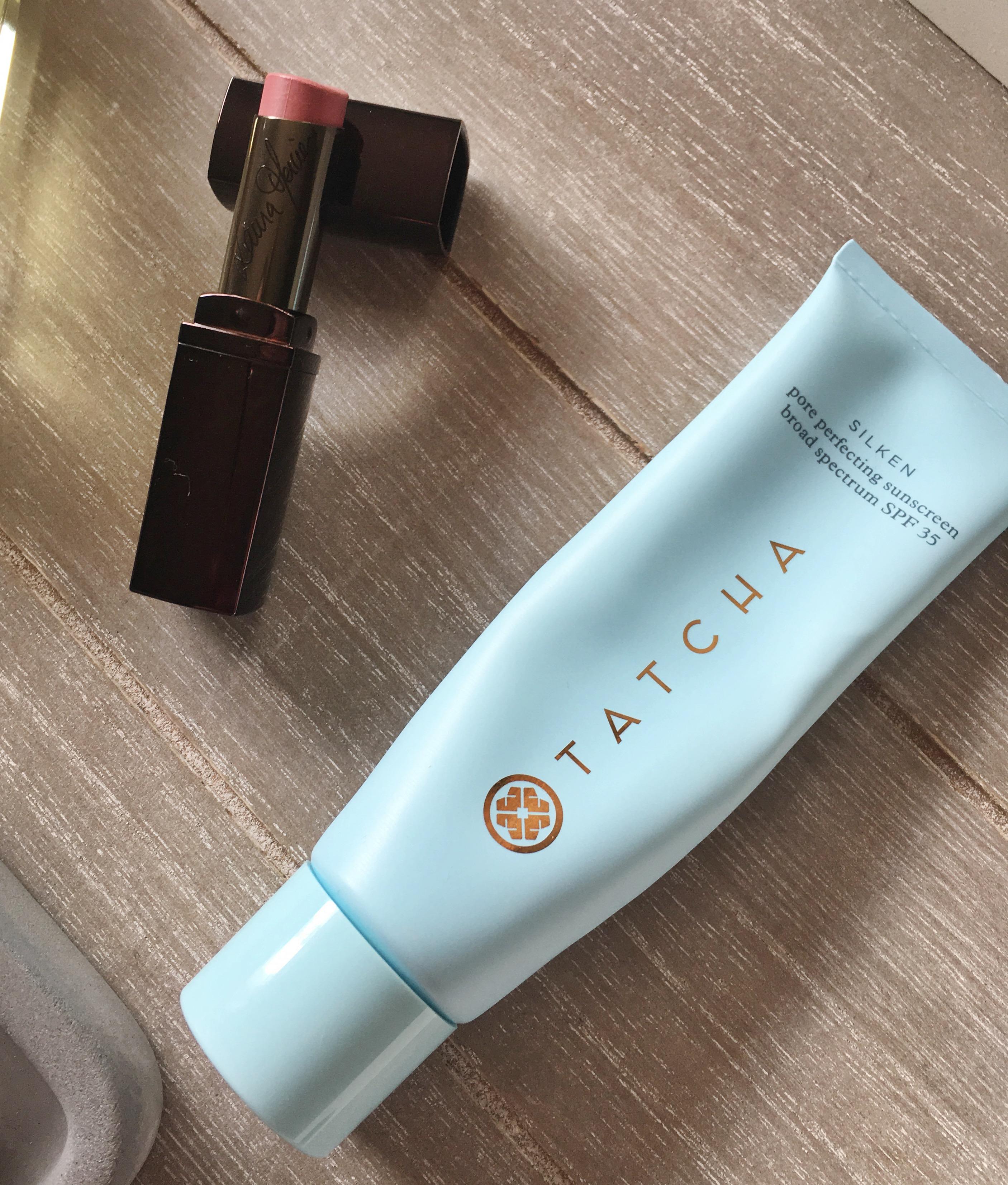 Laura Mercier Lip Parfait Raspberry Ripple, Tatcha Pore Perfecting Sunscreen