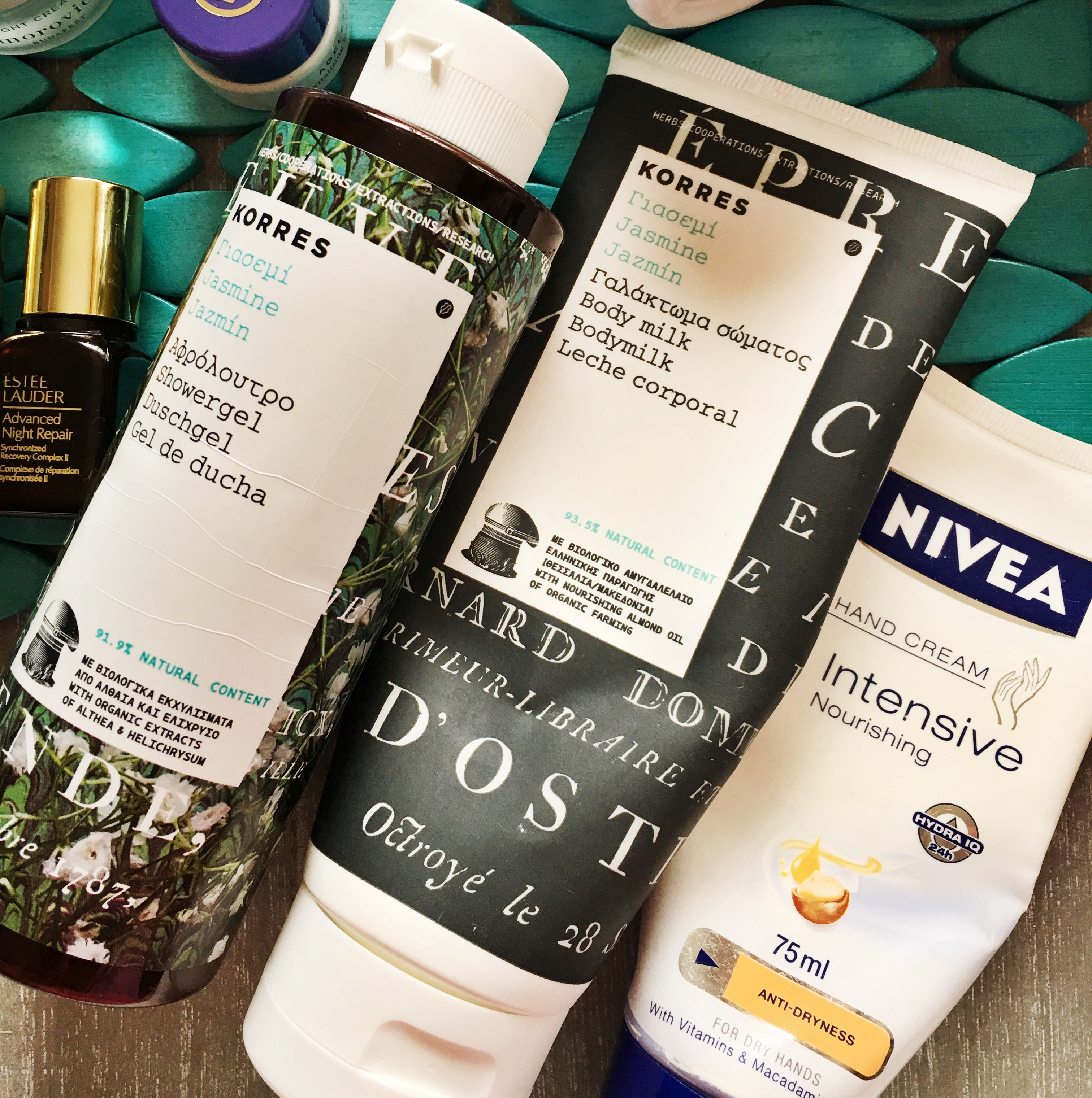 Korres Jasmine Showergel and BodyMilk and Nivea Intensive Nourishing Hand Cream